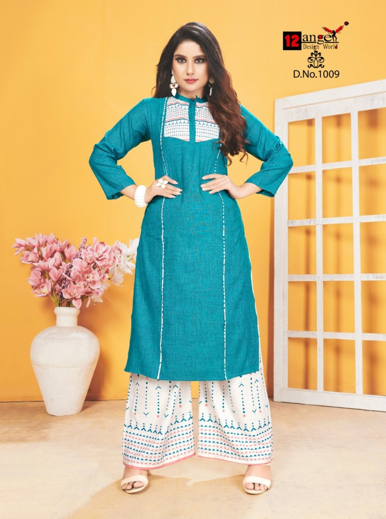 12 angel design world zoya Casual wear Concept of kurti with plazzo