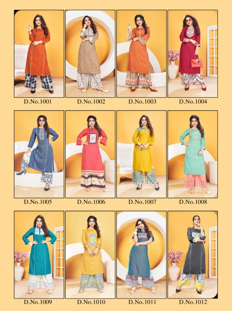 12 angel design world zoya Casual wear Concept of kurti with plazzo