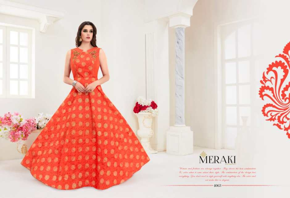 Meraki by rangat ready made party wear gowns collection