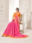 Saroj peach occasional wear bright colours saree catalog at wholesale rate