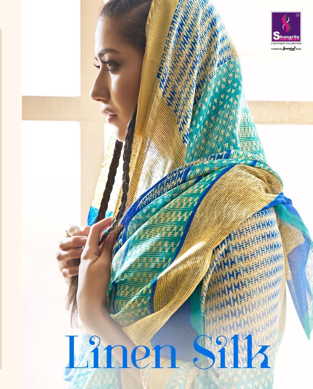 Shangrila linen silk beautiful trendy look sarees concept