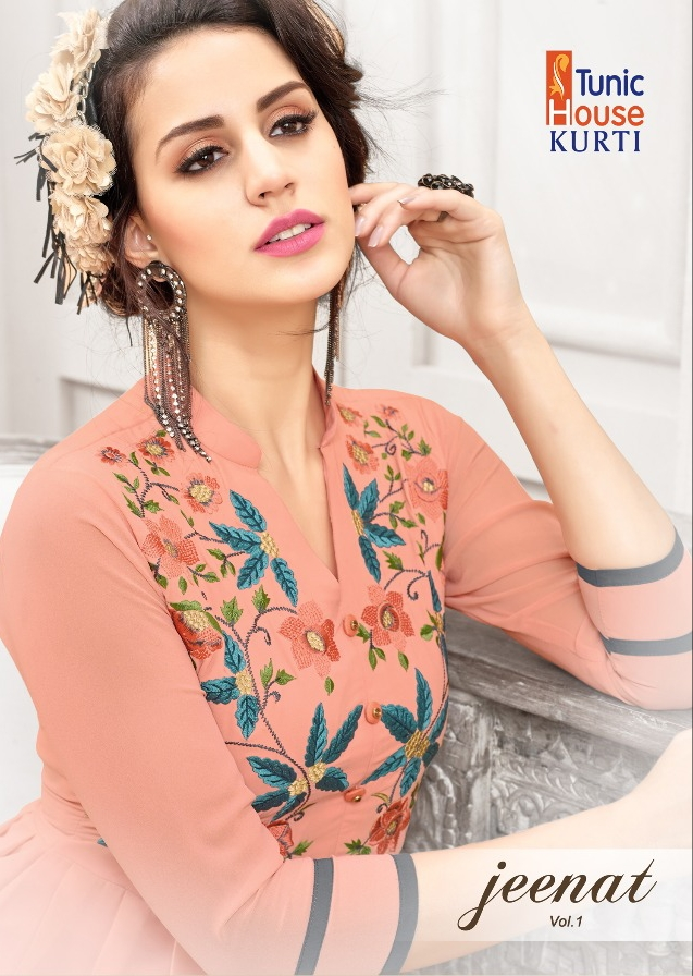 Tunic house jeenat vol 1 ready To Wear fancy party wear Kurties at Wholesale Rate