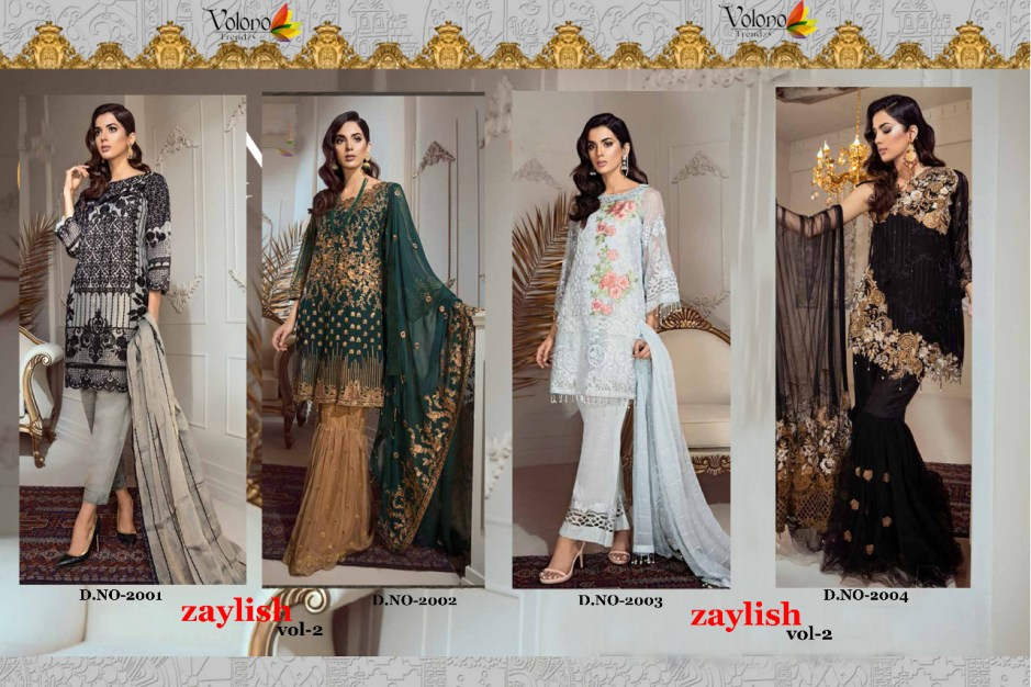 Volono trendz zaylish vol 2 heavy embroidered party wear salwar kameez Collection at Wholesale Rate