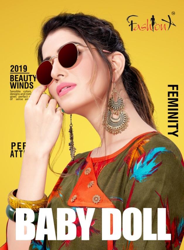 Fashion x presents baby doll rayon printed short top Kurties