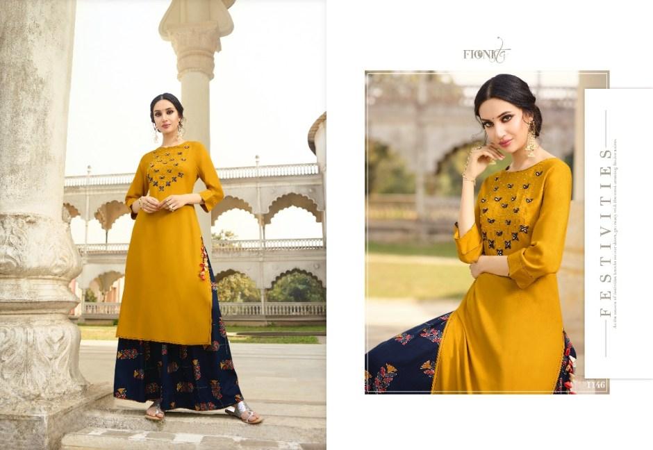 fionista alisha colorful kurti with plazzo  catalog
