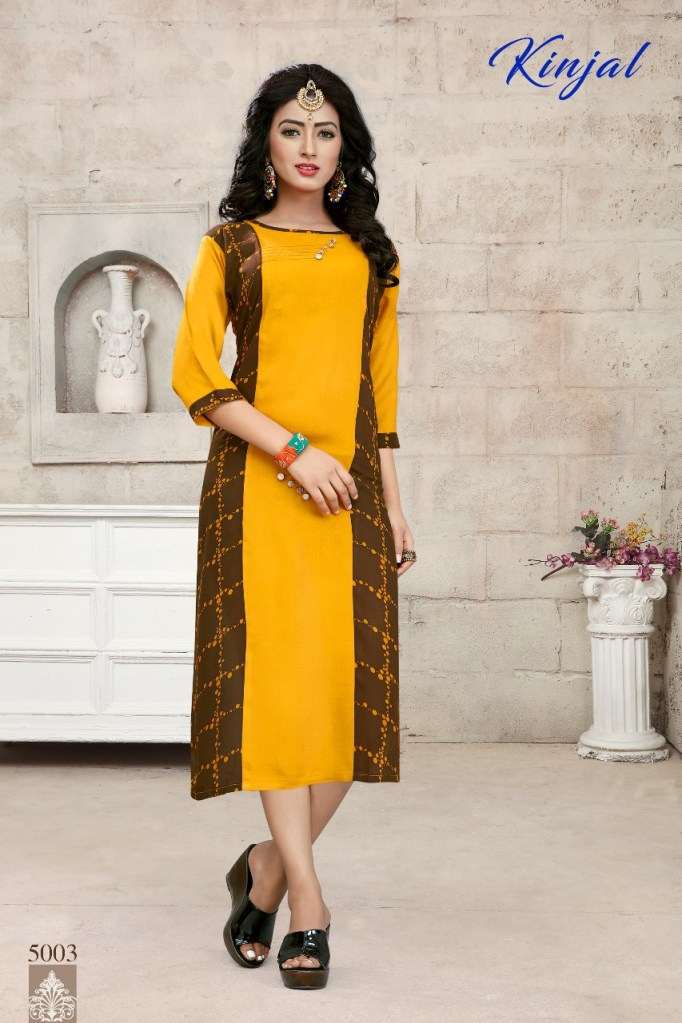 Kinjal 5001 series daily wear rayon Kurties Collection at Wholesale Rate