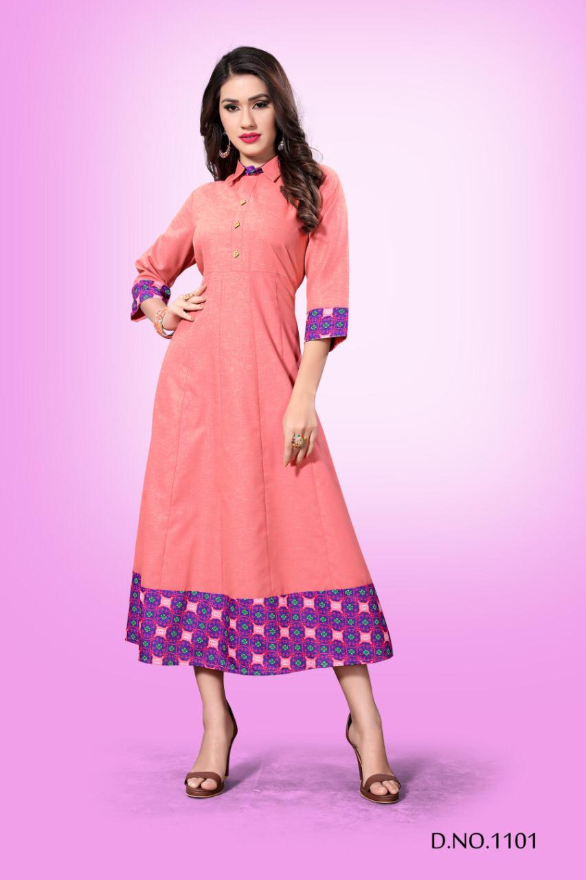 Mirana aarna Long flair beautiful Colours ready To Wear Party Kurties
