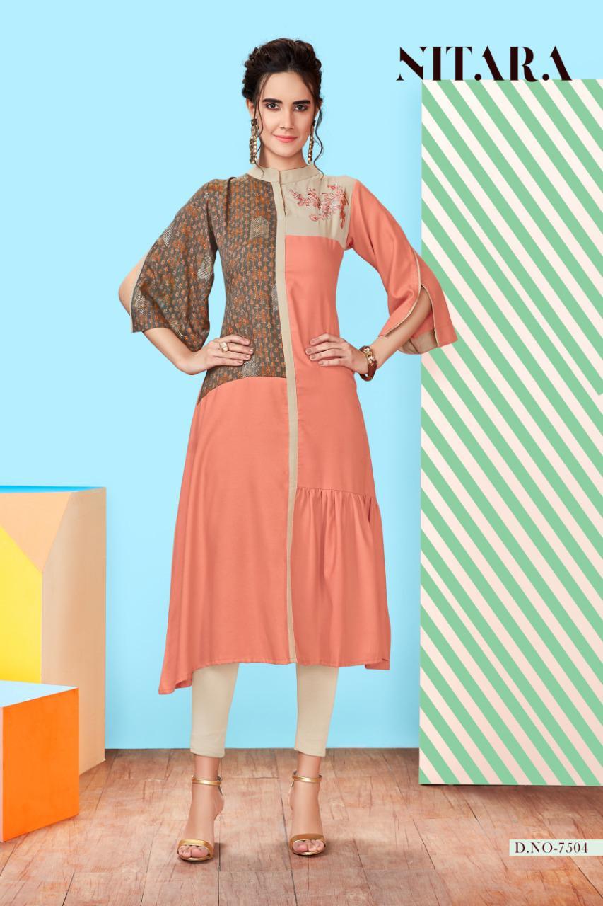 nitara queen colorful regular wear fancy kurtis catalog