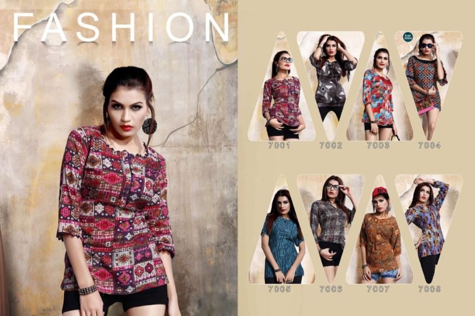 Stf pretty girl vol 9 rayon printed casual wear short tops catalog