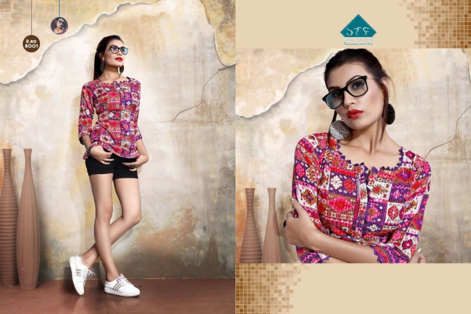 Stf pretty girl vol 9 rayon printed casual wear short tops catalog