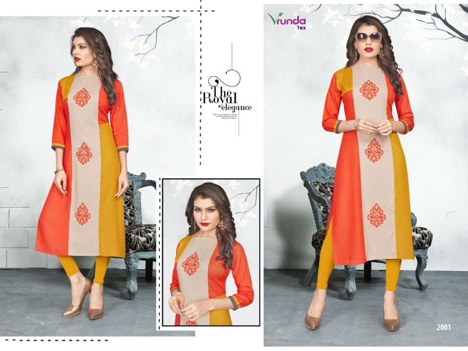 Vrunda tex vrunda's heavy rayon daily wear Kurties Collection