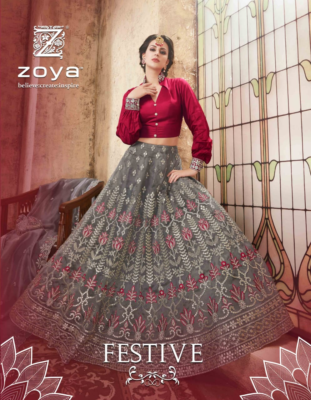 Zoya festive heavy Embroidered lehanga bridal wear beautiful designs catalog at Wholesale rate