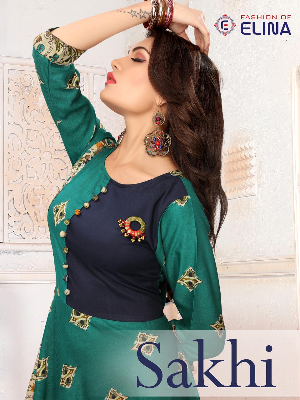 mitali elina  sakhi colorful fancy casual wear kurtis catalog at reasonable rate