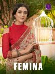 shangrila femina colorful casual wear sarees catalog