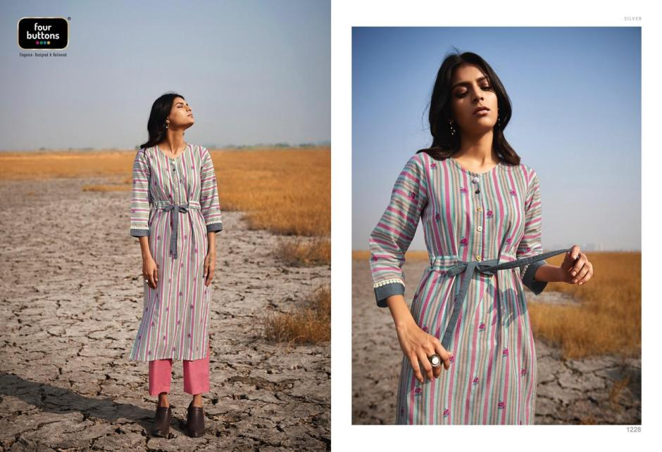 four buttons silver fancy kurtis with pants collection
