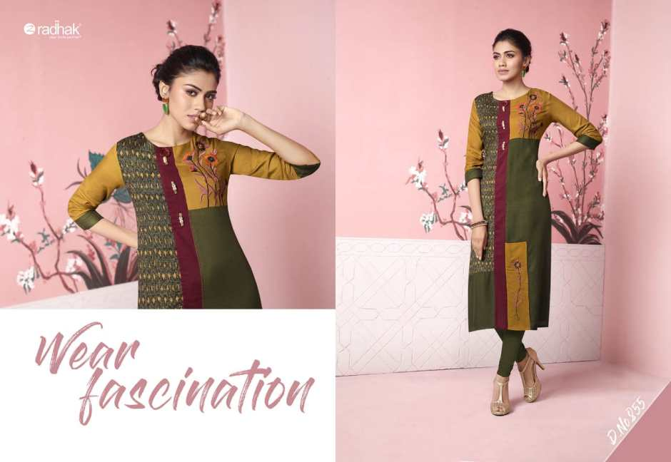 radhak fabrics rukmee 8 colorful fancy collection of kurtos at reasonable rate