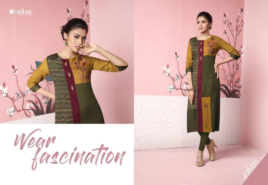 radhak fabrics rukmee 8 colorful fancy collection of kurtos at reasonable rate