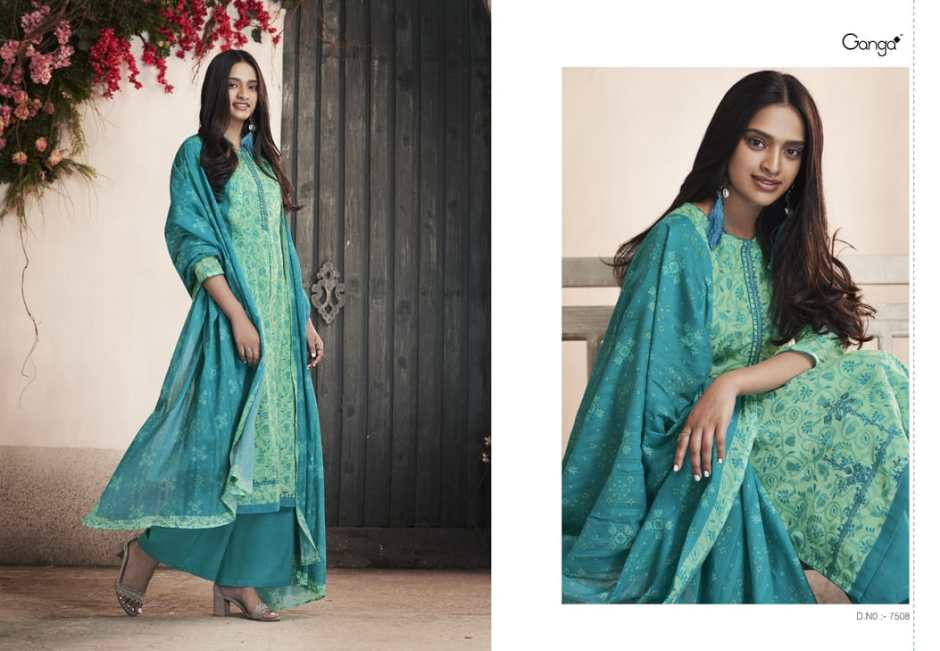 Ganga petals printed cotton salwar kameez catalog at wholesale price