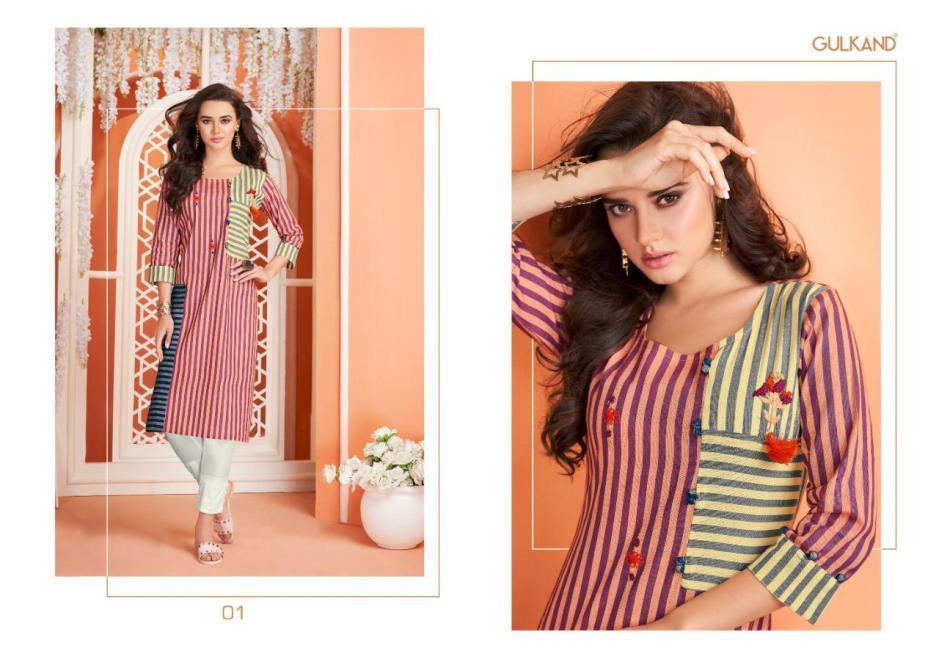 Gulkand designer sui dhaga stripes cotton kurties collection