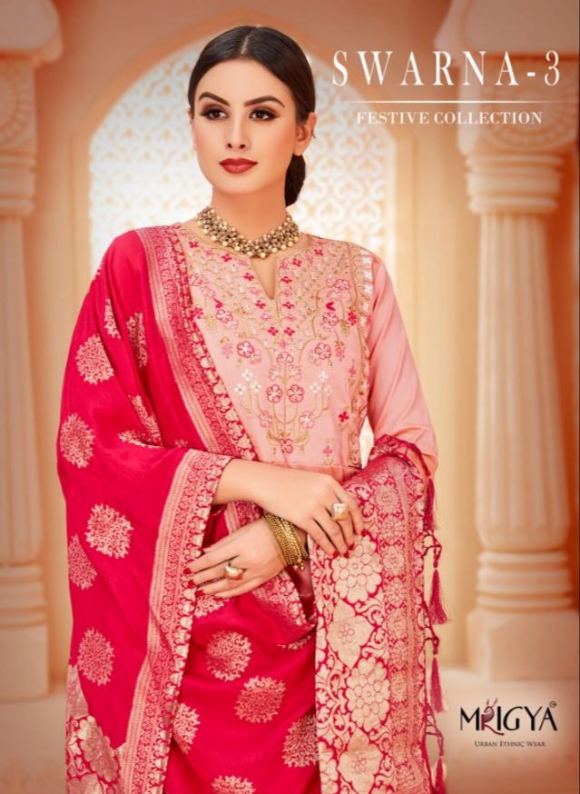 Mrigiya swarna 3 festive wear banarasi dupatta gown collection