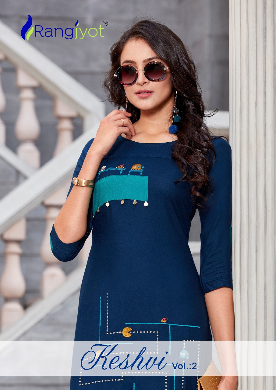 Rangjyot presents keshvi vol 2 straight rayon kurties collection
