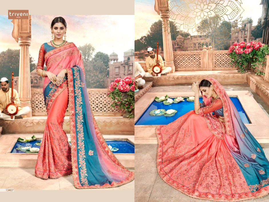 triveni new jubilee colorful beautiful collection of sarees