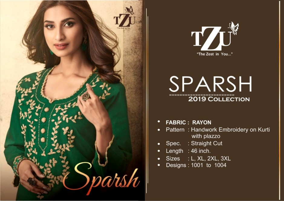 Tzu lifestyle sparsh a-line rayon kurti with plazzo wholsaler