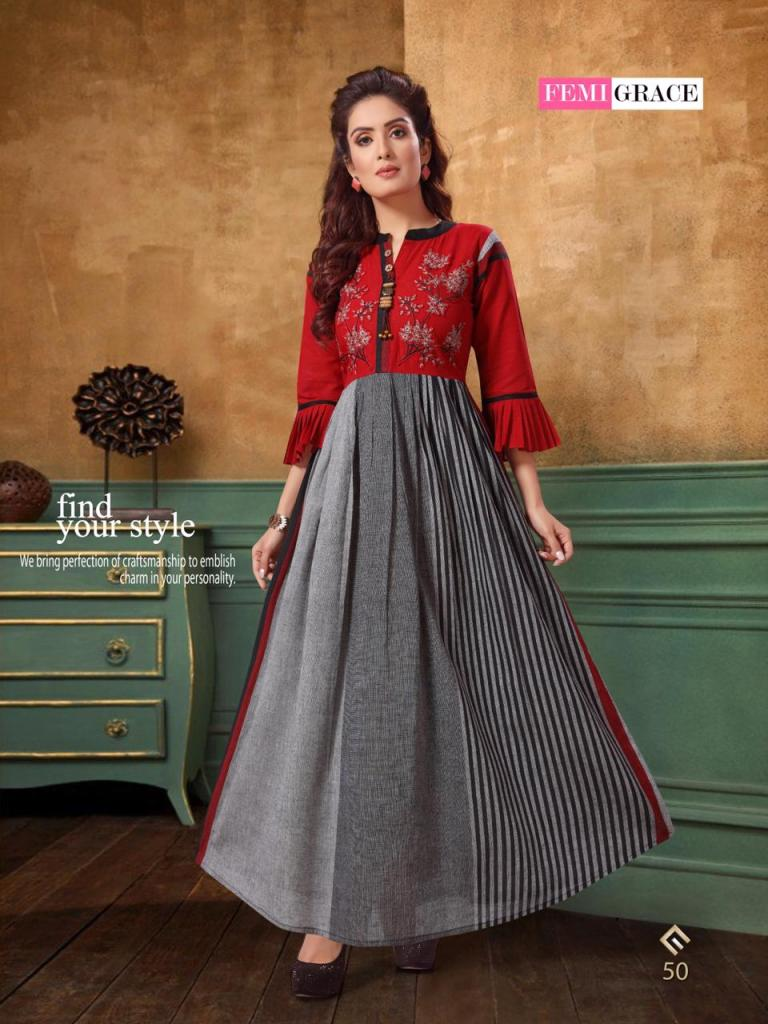 Femigrace vol 8 cotton printed fancy kurties collection at wholesale rate
