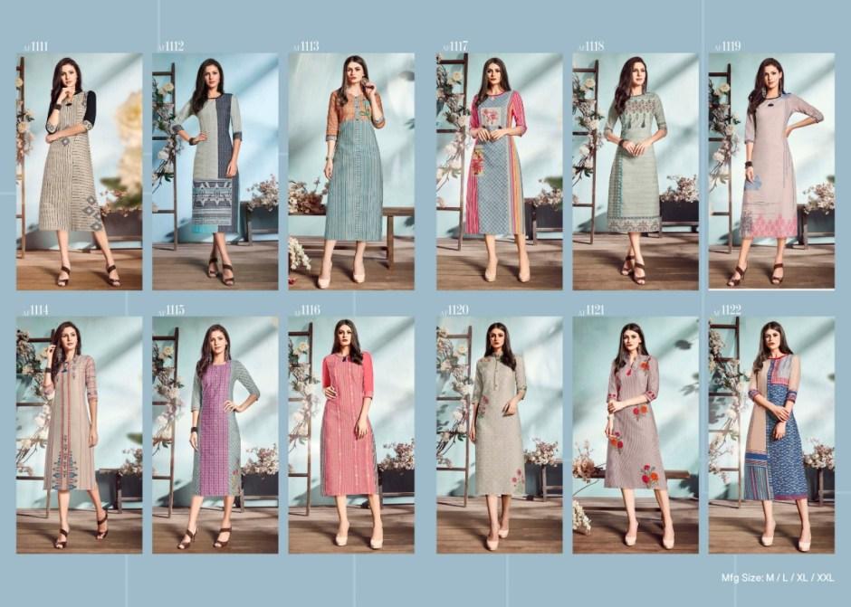 Feminista summer vol 2 long straight cotton kurties catalog