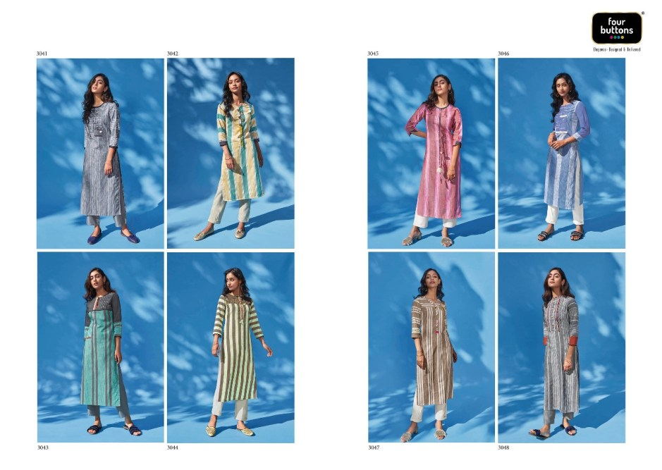 Four buttons shine beautiful collection of striped kurties
