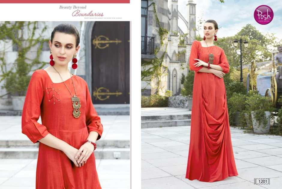Posh kurti eva vol 2 party wear stylish gown collection