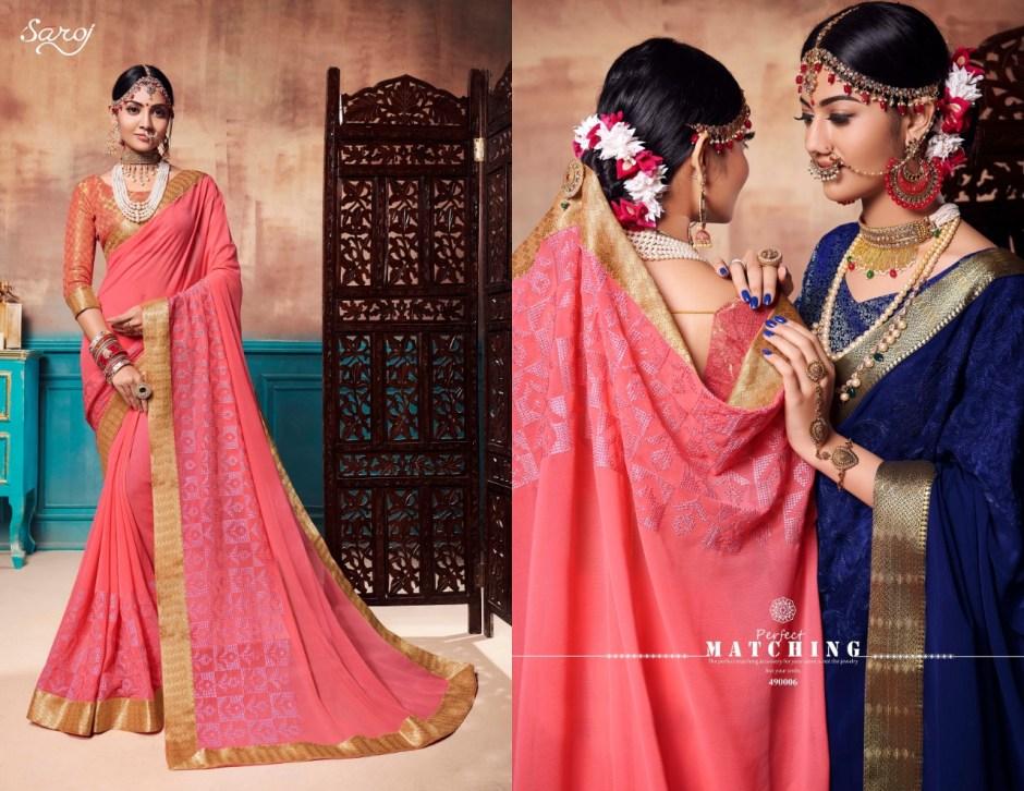 Saroj sunshine elegant chiffon party wear sarees catalog at wholesale rate