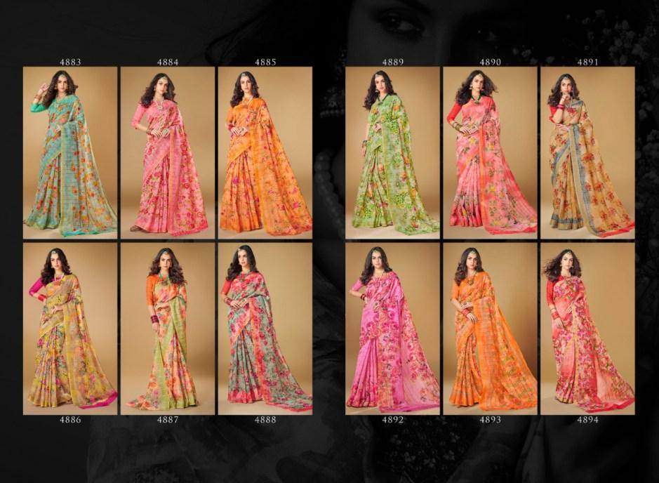Shangrila kajal linen digital printed Occasional wear sarees catalog
