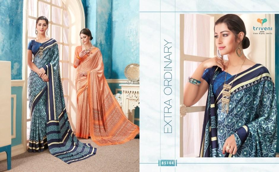 Triveni lehja colourful creape fancy sarees collection dealer