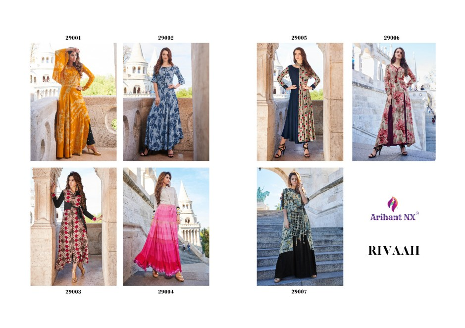 Arihant designer rivaah rayon printed gown collection