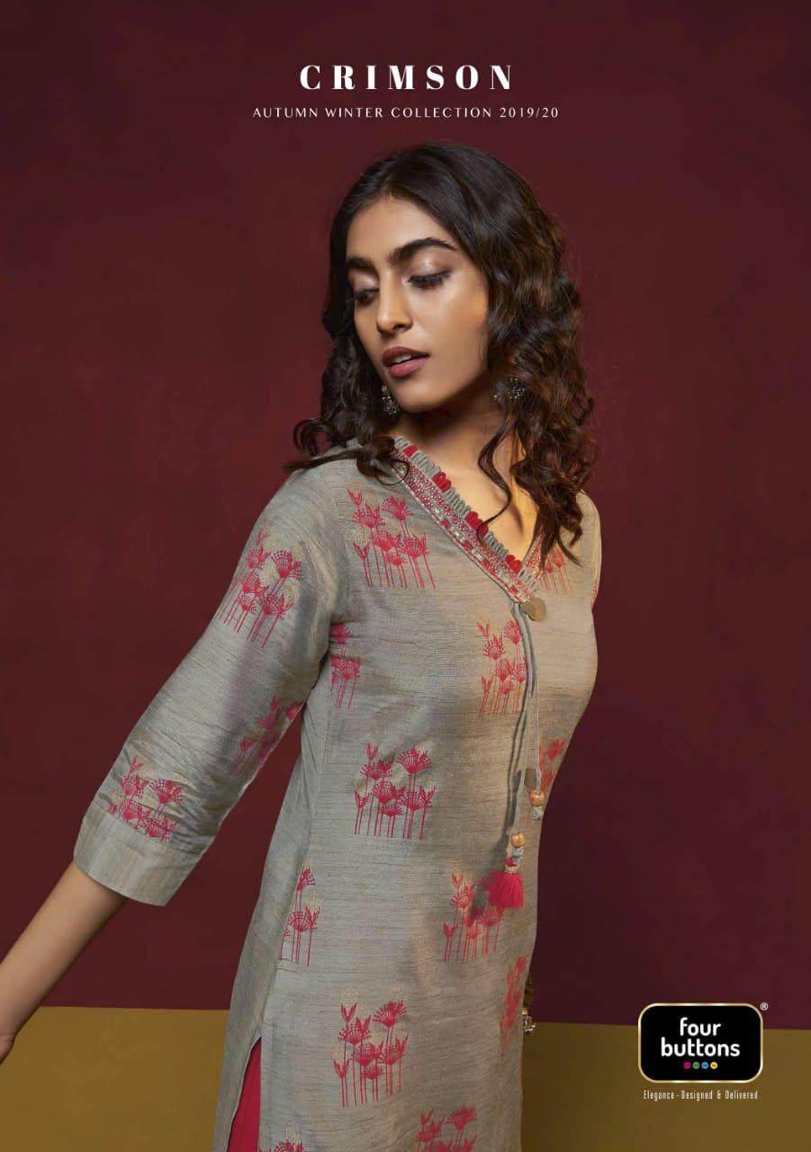 Four buttons crimson designer kurti with sharara collection