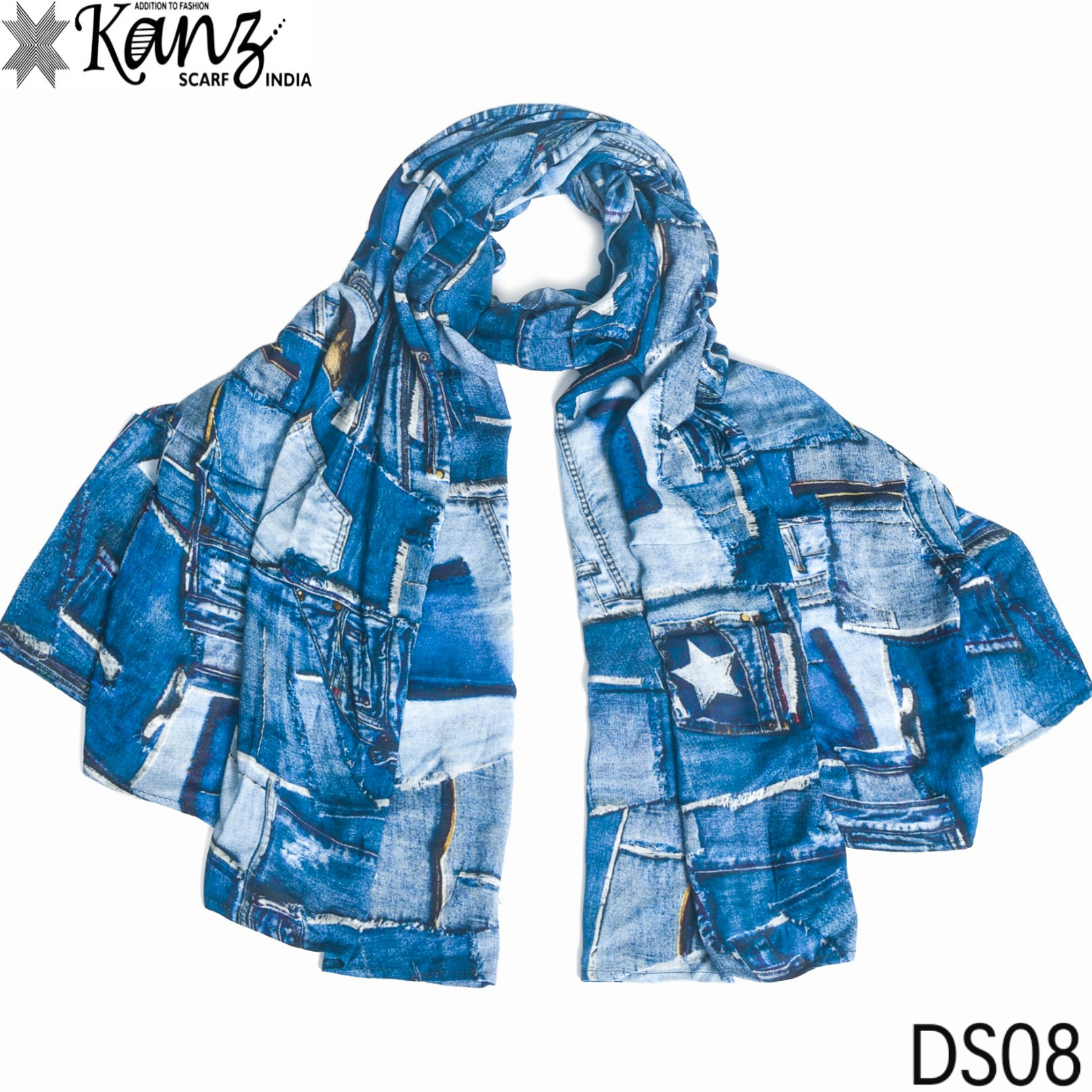 Kanz scarf denim dupatta digital printed  scarves collection