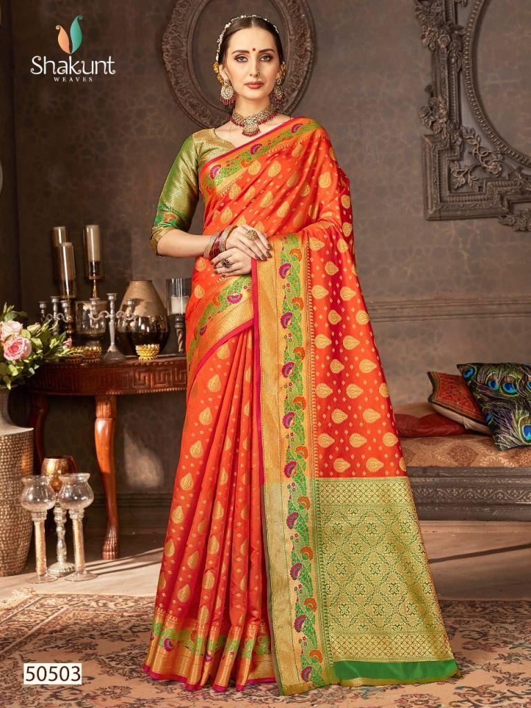 Shakunt weaves ayushmati attractive designer sarees collection