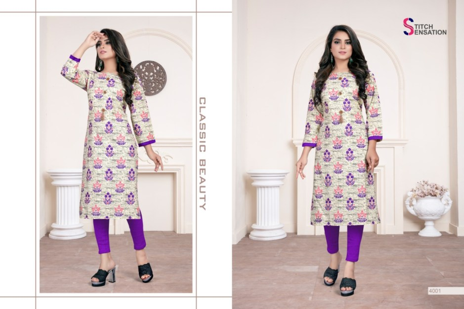 Stitch sensation cotton mania daily wear casual kurties