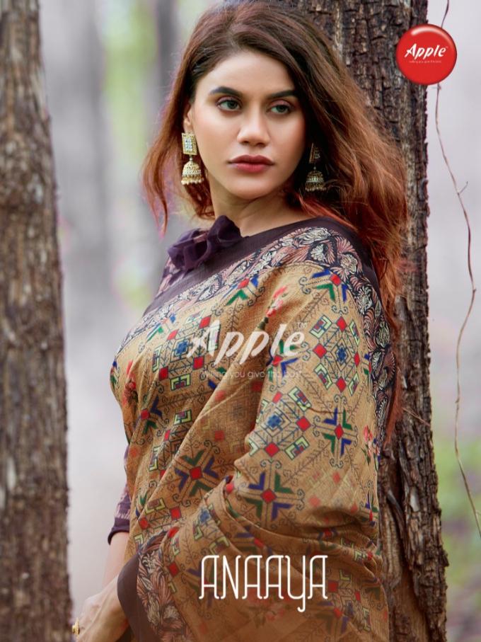Apple sarees anaaya digital printed cotton silk sarees exporter