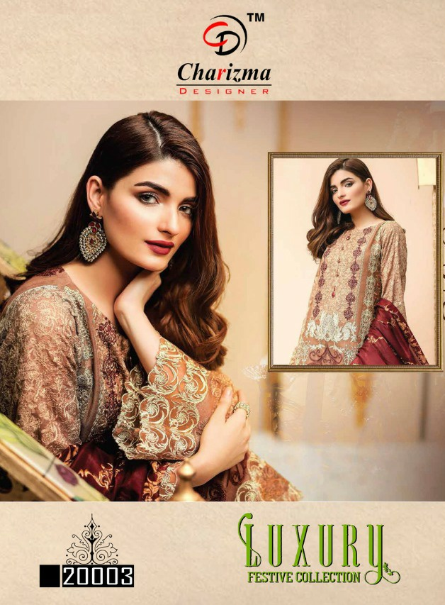 Charizma designer Luxury Festive collection heavy embroidery's design suit