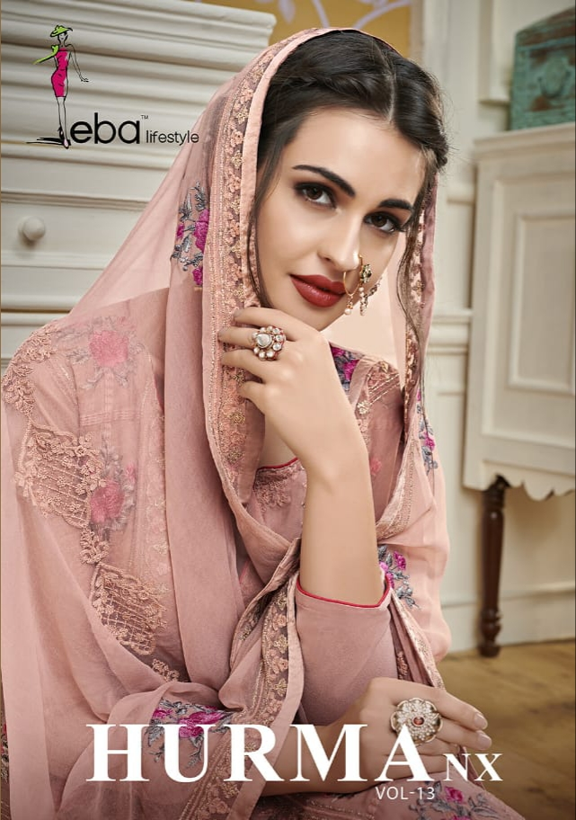 Eba lifestyle hurma vol 13 nx heavy embroidered georgette salwar kameez collection