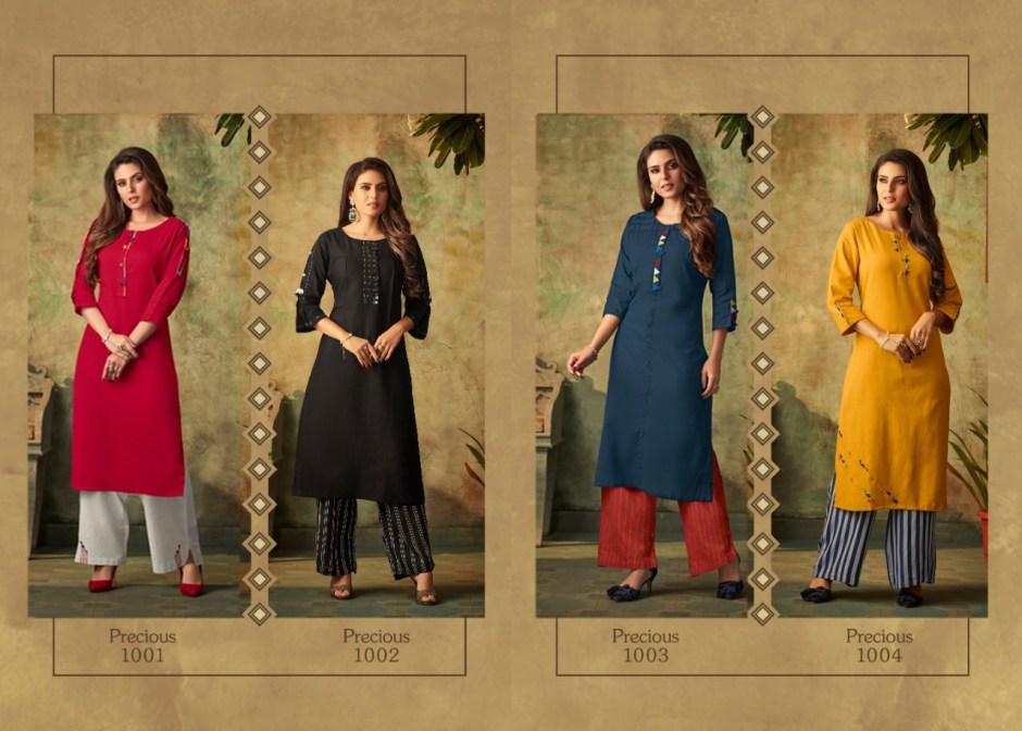 Tzu precious cotton kurti with plazzo embroidered collection