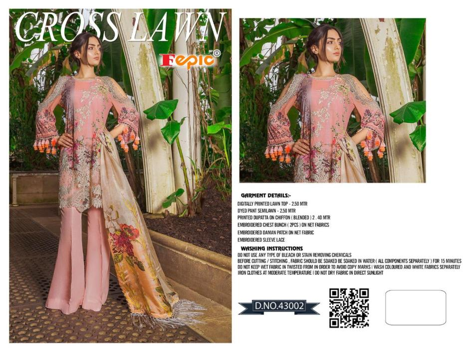Fepic Rosemeen cross lawn launched Pakistani concept heavy embroidery and chiffon digital print Works collection of Salwar suit