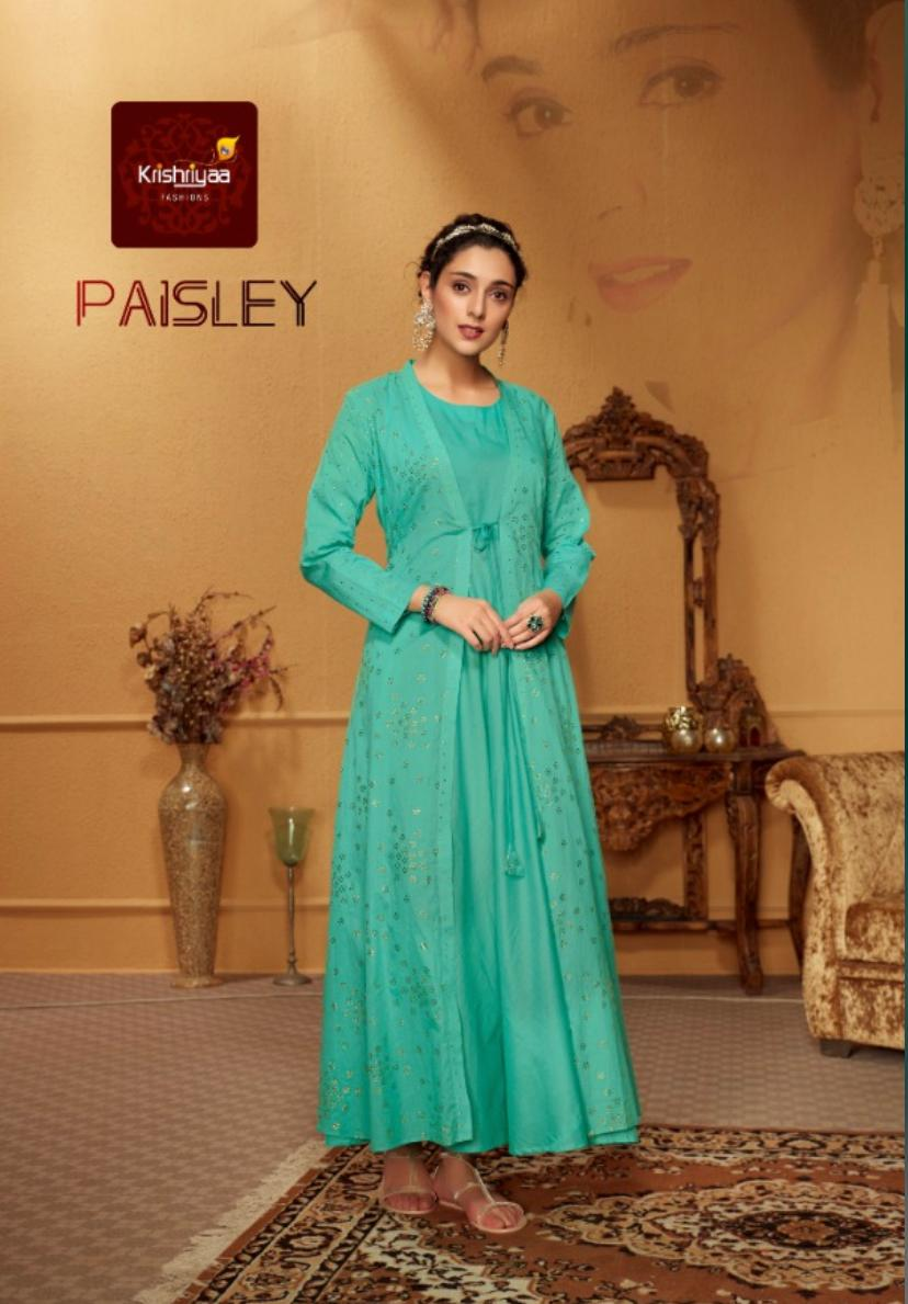 Krishriyaa paisley long cotton gown with inner kurties collection
