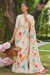 L.T Fashion Shubham beautiful flower printed linen silk casual wear Saree