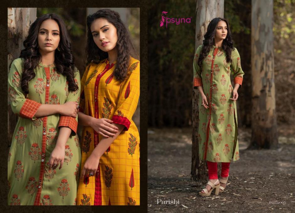 Psyna parishi vol 2 rayon printed party wear beautiful kurties collection wholsaler