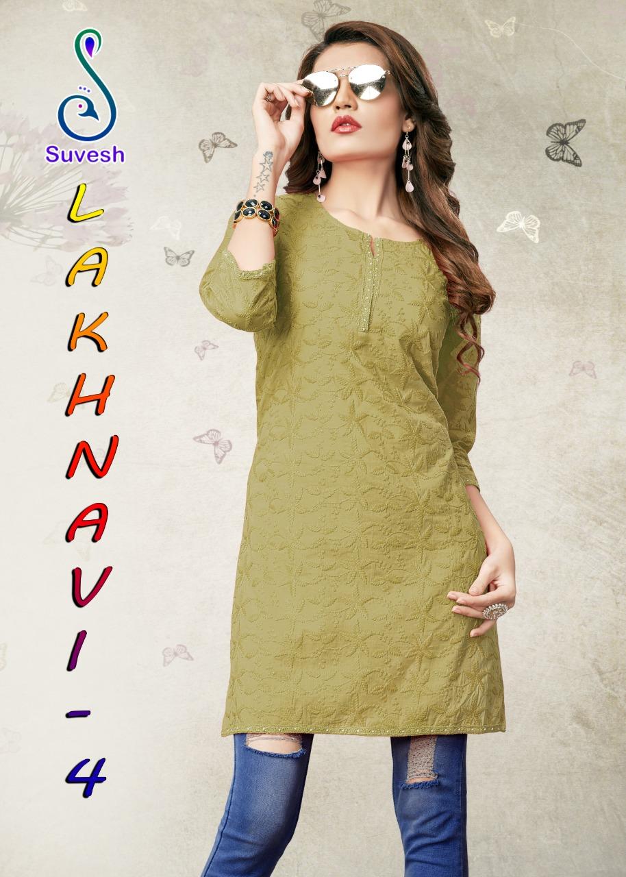 Suvesh Lakhnavi vol 4 chikankari embroidered beautiful kurties collection