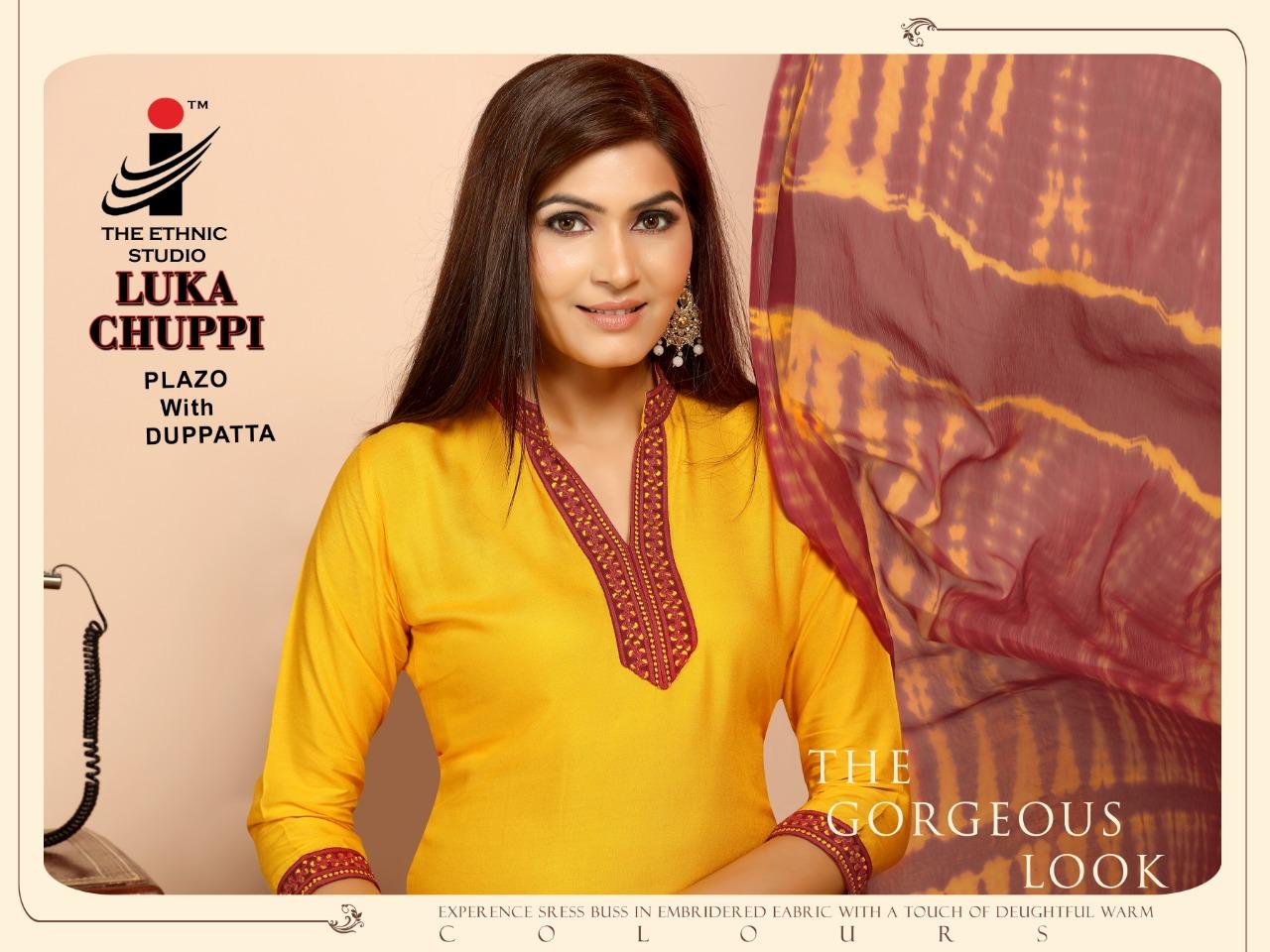 The ethnic studio lukka chuppi vol 2 rayon embroidered kurta plazzo with dupatta collection