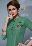 Tunic house neha fashion nadia pure viscose handwork straight kurties dealer